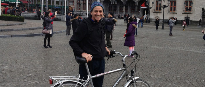 David Stone with his bicycle